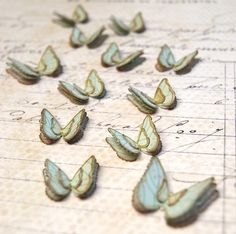 Butterflies Fluttering Blue Handmade Embellishments by ScrappingArt on etsy $5