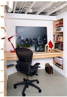 Home Office Design Layout Basement Home Office, Modern Basement, Home Office Desks, Basement Ideas, Basement Walls, Office Furniture, Furniture Ideas, Basement Bathroom, Basement Inspiration