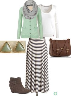 Like the skirt with the mint cardi