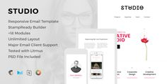 Studio - Responsive Email Template   Online Editor by HyperPix Template FeaturesFree Lifetime Updates and Support Fully Responsive Just check how great it works on mobile devices MailChimp Compatible File Campaign Monitor Compatible File StampReady Compatible File Major Email Client SupportH