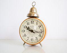 Vintage Soviet Russian Mechanical Pumpkin Orange Alarm Clock Jantar
