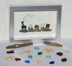 All Aboard by SeaglassArtNS on Etsy All Aboard!!  20+ Pieces Of Multi Colored Seaglass. Green, Brown, White & Blue! Framed 4x6 $75.00 #seaglassart #seaglass #train