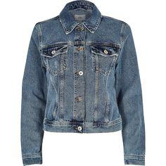 9b8fc69624b River Island Mid blue distressed released hem denim jacket ($120 ...