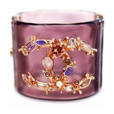 Pre-Owned Crystal Cc Lucite Cuff ($1,269) ❤ liked on Polyvore featuring jewelry, bracelets, pink, crystal bangles, chanel, chanel bangles, cuff jewelry and lucite jewelry
