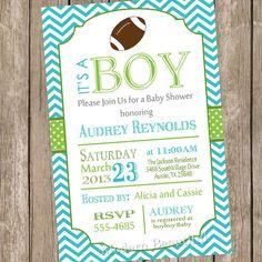 Chevron football baby shower invitation by ModernBeautiful on Etsy, $13.00