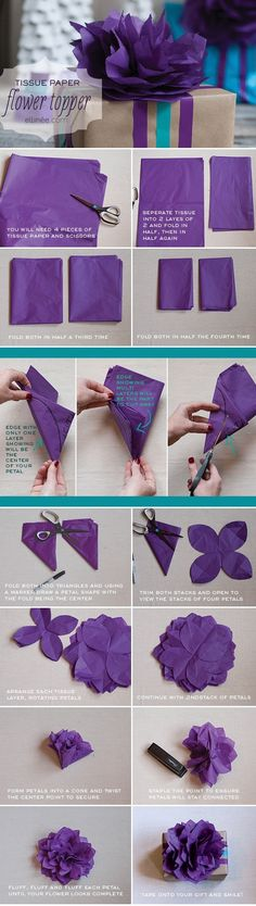 DIY Tissue Paper Flower, Gift Wrap Topper, Tutorial, DIY - flowers garland,Cool Flower Crafts , Paper Crafts for Teens , paper, craft, flowe...