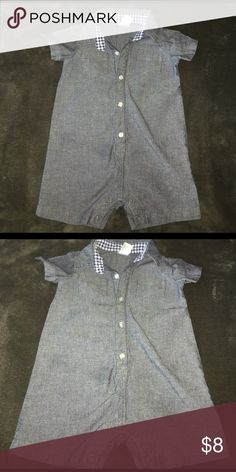 Carters Lightweight Denim One Pc Outfit Carters Lightweight Button up Blue Denim One Pc shorts outfit with inner snap leg Closure Carter's One Pieces Bodysuits