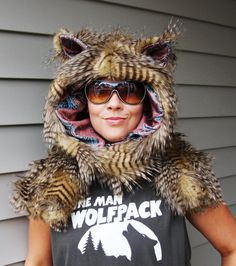 One Man Wolfpack Hoodie - Scoodie scarf with mittens (Brown Feathered Faux Fur and Brown / Blue Paisley lining). $78.00, via Etsy.