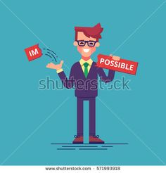"""Businessman breaks off a piece of the plate with the word """"impossible"""" and gets the word """"possible"""". Modern vector illustration."""