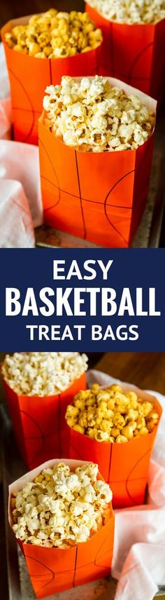 Easy Basketball Treat Bags -- this fun basketball treat bags craft is the perfect addition to your March Madness game day party!   basketball treat bags ideas   basketball party   march madness party   march madness ideas   unsophisticook.com