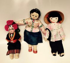Trio of dolls from the Children at Play box
