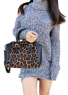 b47774411c064c NWT Michael Kors Ciara Medium Messenger Crossbody Leopard Black Calfhair -  Handbags & Purses Designer Handbags