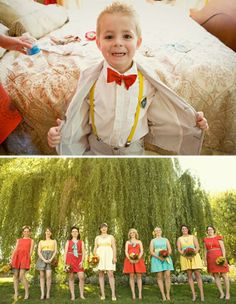 Vintage Country Wedding: LOVE their styling…the multiple colors of the girl's dresses