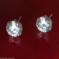 4 ct round cut Giamond stud Earrings Solid 14k white or yellow gold push backs