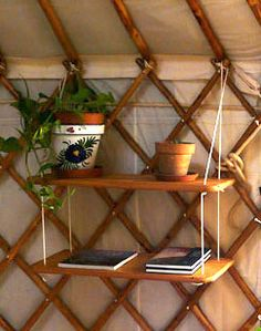 shelves inside yurt