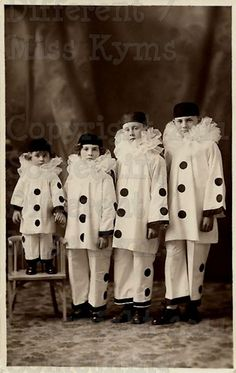 Clown Line Up Kids  Vintage Digital photo via Etsy