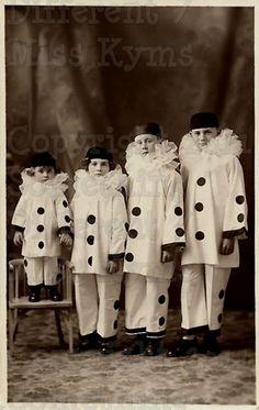 Clown Line Up Kids  Vintage Digital photo via Etsy