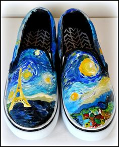 Womens Van Gogh Shoes Custom Starry Night Shoes by PricklyPaw