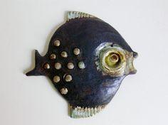 Mid Century Helmut Schäffenacker Studio Art Wall Tile Plaque of a Moonfish fish West Germany WGP