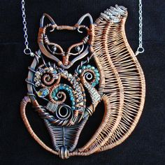 Fantasy Fox Necklace   Copper Crystal Sterling by sparkflight