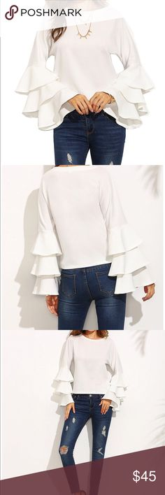 Ruffle sleeve Blouse Long sleeve Blouse in white . Tops Blouses