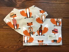 Bandana Bib and Burp Cloth set, Sophisticated Foxes, Woodland by LondonGreyBoutique on Etsy