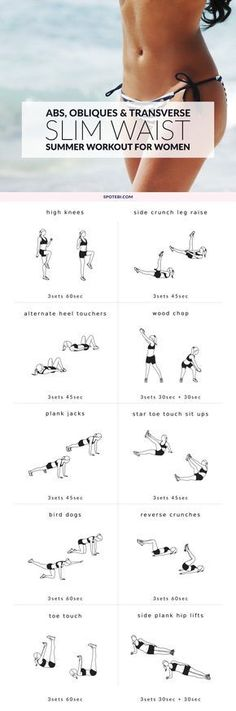 The secret to a slim waist lies in a combination of exercises that work your abs, obliques and the transverse abdominals. These 10 waist slimming moves are perfect for toning and defining your waist and abs, and banish those love handles for good! http://www.spotebi.com/workout-routines/at-home-waist-slimming-exercises-for-women/