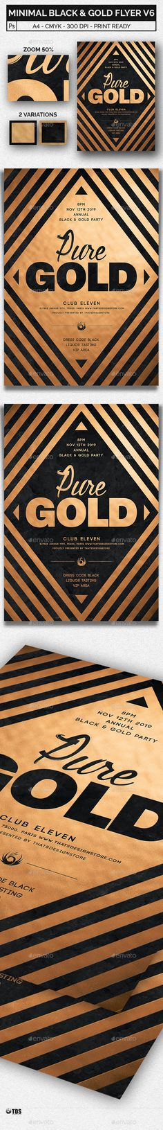 Minimal Black and Gold Flyer Template V6 — Photoshop PSD #black #music • Download ➝ https://graphicriver.net/item/minimal-black-and-gold-flyer-template-v6/20480685?ref=pxcr
