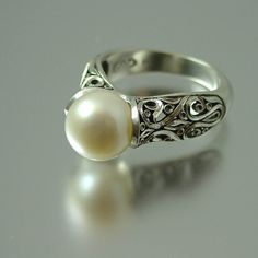 The ENCHANTED Pearl 14K white gold ring. $1,255.00, via Etsy.