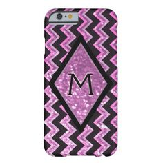 Modern Glitter Glam Chevron Barely There iPhone 6 Case A very pretty and modern looking cell phone with glitter and glam in a chevron patter with pink and black. #glitter #glittery #sparkle #glam #girly #chevron #pink black...