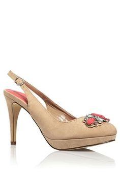 Buy Nude Micro Suede Jewel Slingbacks from the Next UK online shop