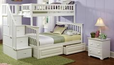 OGDEN WHITE TWIN OVER FULL STAIRWAY BUNK BEDS
