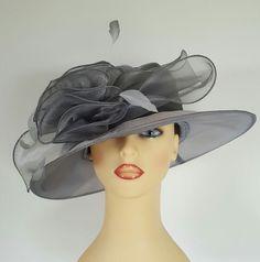 Ladies Wedding Hat Races Mother Bride Ascot Hat Silver Grey Chiffon Diamantes