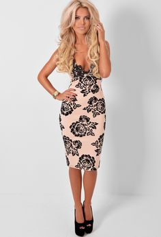 Skye Nude Floral Print Midi Dress with Lace Trim