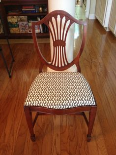 My recovered dining room chair. Fabric is Amy Butler's Rivershine in Cinder by Westminster purchased from fabric.com.