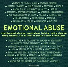 Emotional abuse is as damaging as physical abuse, if not more. And sometimes family are the culprits.
