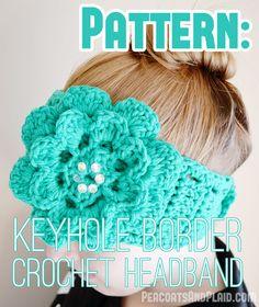 Free crochet patterns for women: keyhole headband, earwarmer pattern. Crochet Flower Headbands, Crochet Scarves, Crochet Yarn, Crochet Flowers, Crochet Hooks, Plaid Crochet, Crocheted Hats, Love Crochet, Crochet For Kids