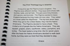 Have your preschooler tell the story of the first Thanksgiving ... so cute!