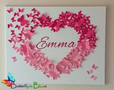 "20"" x 20"" Personalized Pink Ombre Name Butterfly Wall Art - Newborn - Baby - Nursery - Baby Shower - Gift"