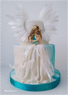 Sweet Angel by Blacksun - gateau :) - Cake Design Beautiful Birthday Cakes, Gorgeous Cakes, Amazing Cakes, Torta Angel, Angel Cake, Unique Cakes, Creative Cakes, Girl Cakes, Baby Cakes