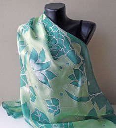 In shades of green Handmade silk scarf Art.331 by MarijanaSilk