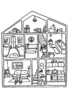 House with rooms coloring pages xenia pinterest house colors house and spanish - Mini water kamer in een kamer ...