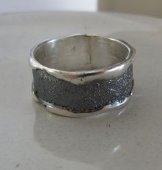 SALE Wide Band Ring  Rustic Mens Ring  Made to Order  for by Kagun