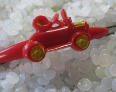 Vintage hair barrette, red vintage car