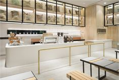 The % Arabica roastery and coffee parlour chain has opened a new outpost in Kuwait. Cafe Interior Design, Cafe Design, Interior Decorating, Bakery Design, Interior Architecture, Cafe Counter, Cafe Concept, Counter Design, Cafe Bistro