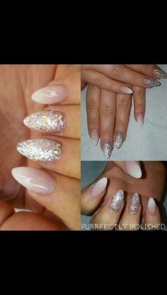 My birthday nails by the fabulous Kaylie at Purrfecctly polished baby bloomers and bespoke glitter acrylic