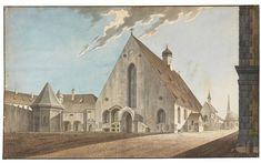 Das ehemalige Franziskanerkloster in München. Aquarell, Giovanni Maria Quaglio, 1790