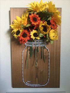Mason jar sunflower string art - order from KiwiStrings on Etsy! www.KiwiStrings.etsy.com