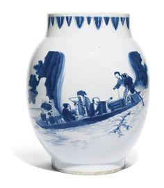 A LARGE BLUE AND WHITE 'LIANZI' JAR, MING DYNASTY, CHONGZHEN PERIOD