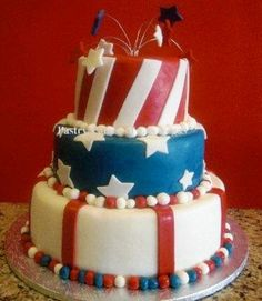 Red White & Blue.  Patriotic triple tiers of red, white and blue stars and stripes.